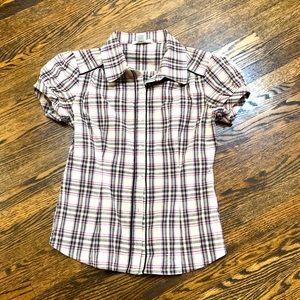 Puff Sleeve Plaid Shirt